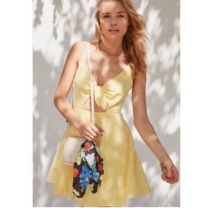 UO Kimchi Blue Tie Front Yellow Fit + Flare Dress